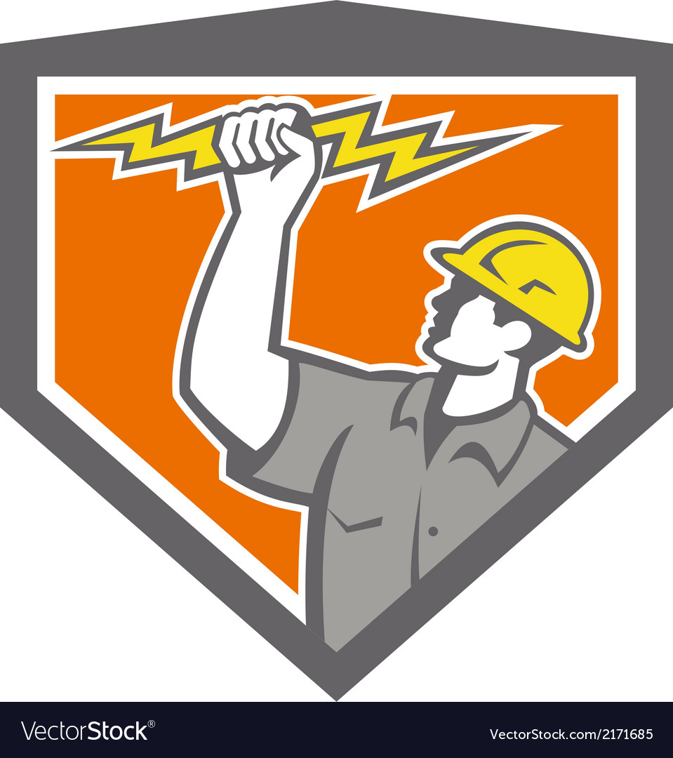 Electrician wield lightning bolt side crest vector | Price: 1 Credit (USD $1)