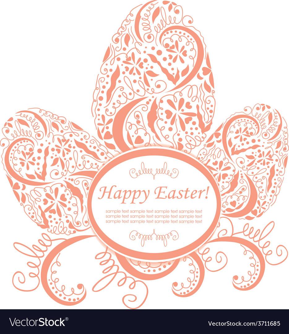 Happy easter card or frame vector | Price: 1 Credit (USD $1)