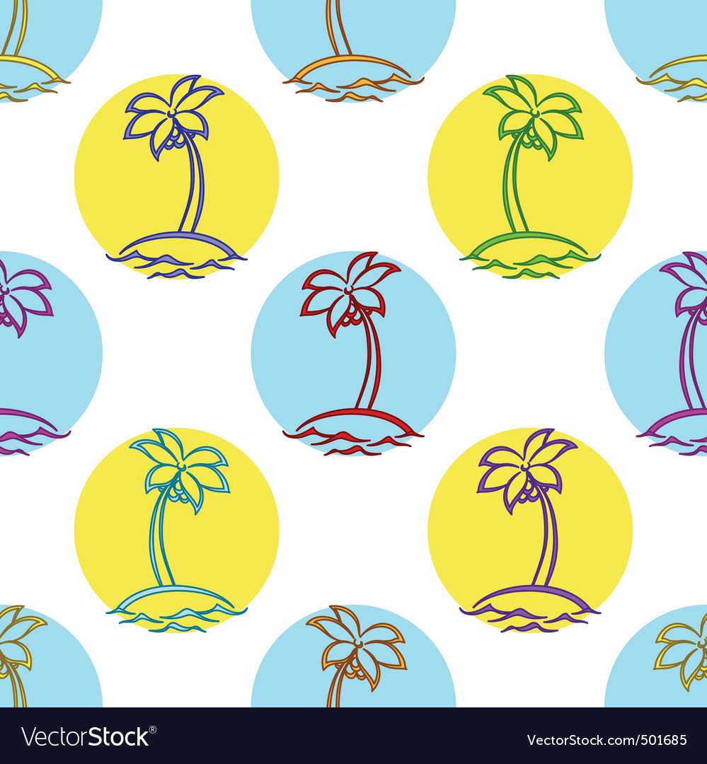 Islands with palm vector | Price: 1 Credit (USD $1)