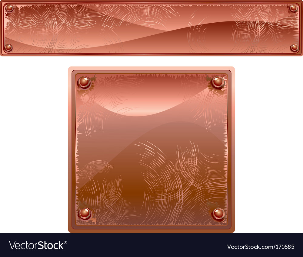 Old copper brass metal sign vector | Price: 1 Credit (USD $1)