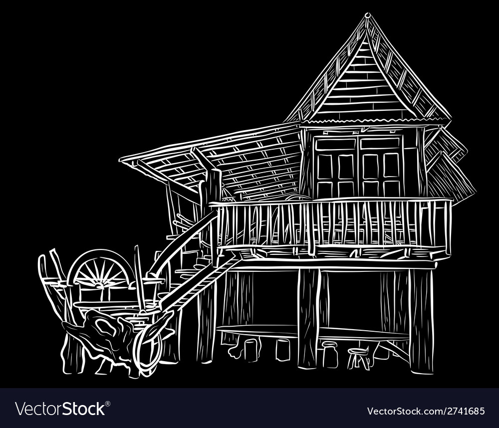 Wooden house sketch vector | Price: 1 Credit (USD $1)