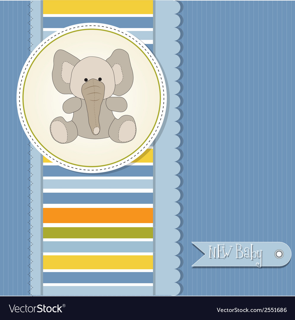 Baby boy announcement card with elephant vector | Price: 1 Credit (USD $1)