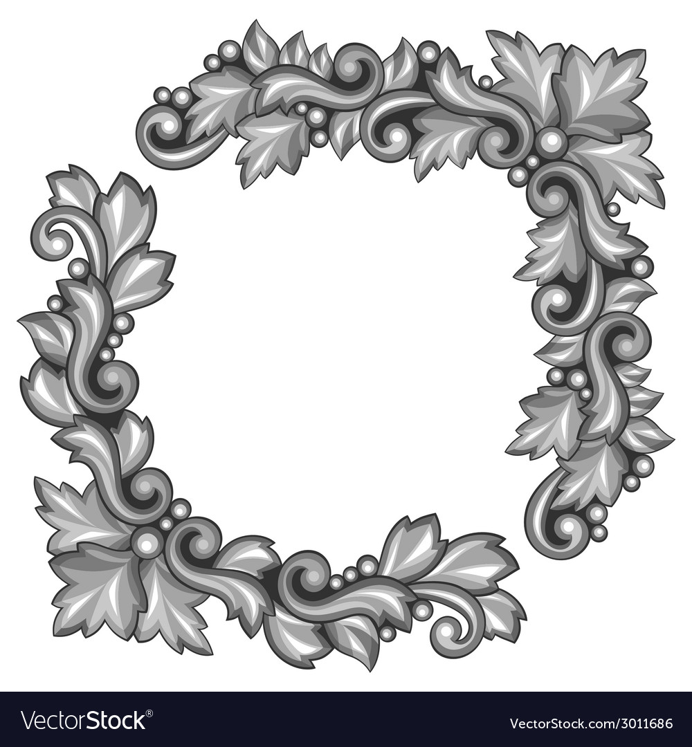 Baroque ornamental antique silver element on white vector | Price: 1 Credit (USD $1)