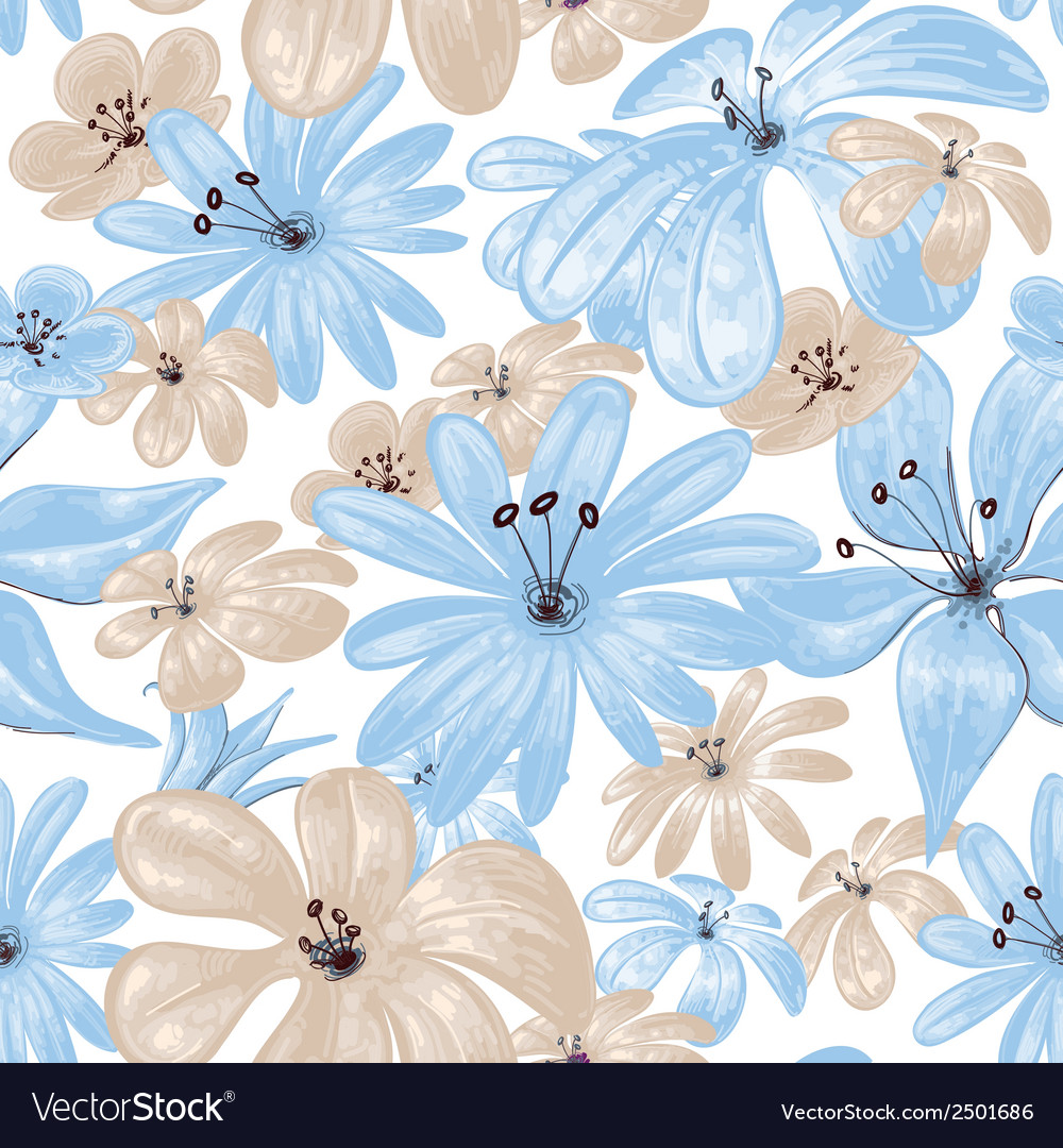 Blue flowers print seamless pattern vector | Price: 1 Credit (USD $1)