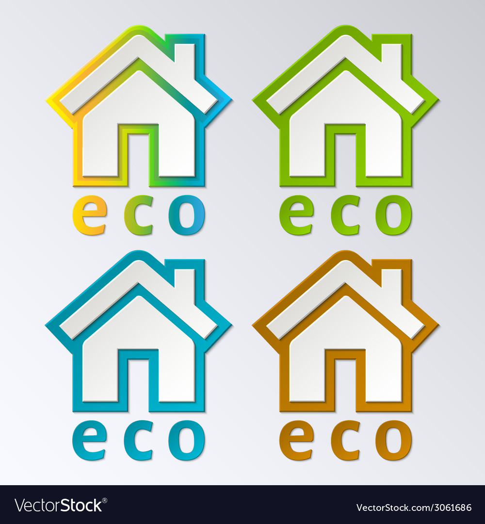 Eco house in rainbow color  eps 10 vector   Price: 1 Credit (USD $1)