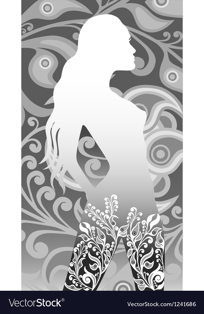 Floral silhouette of a girl vector | Price: 1 Credit (USD $1)
