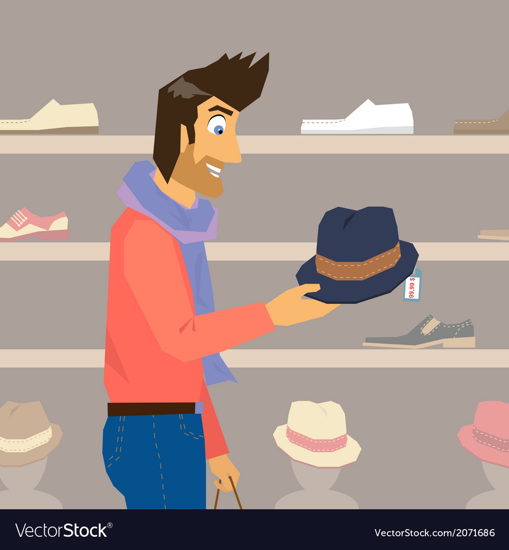 Handsome guy is doing shopping vector | Price: 1 Credit (USD $1)