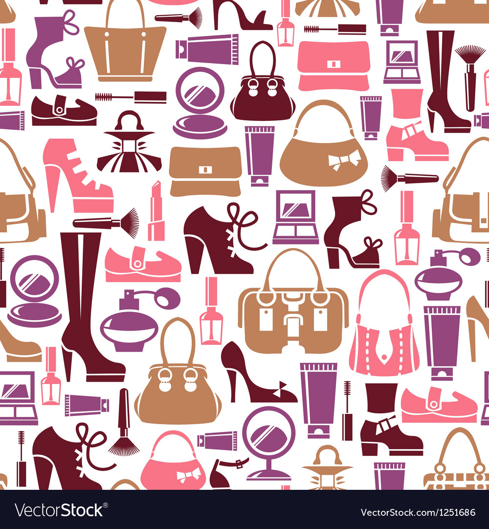 Seamless pattern with beauty female icons vector | Price: 1 Credit (USD $1)