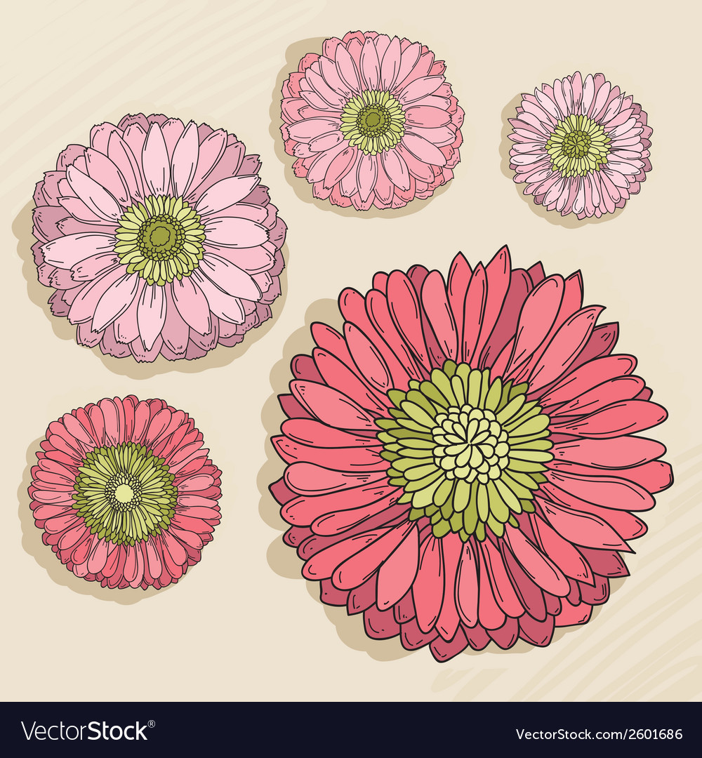 Set of hand drawn flowers vector   Price: 1 Credit (USD $1)