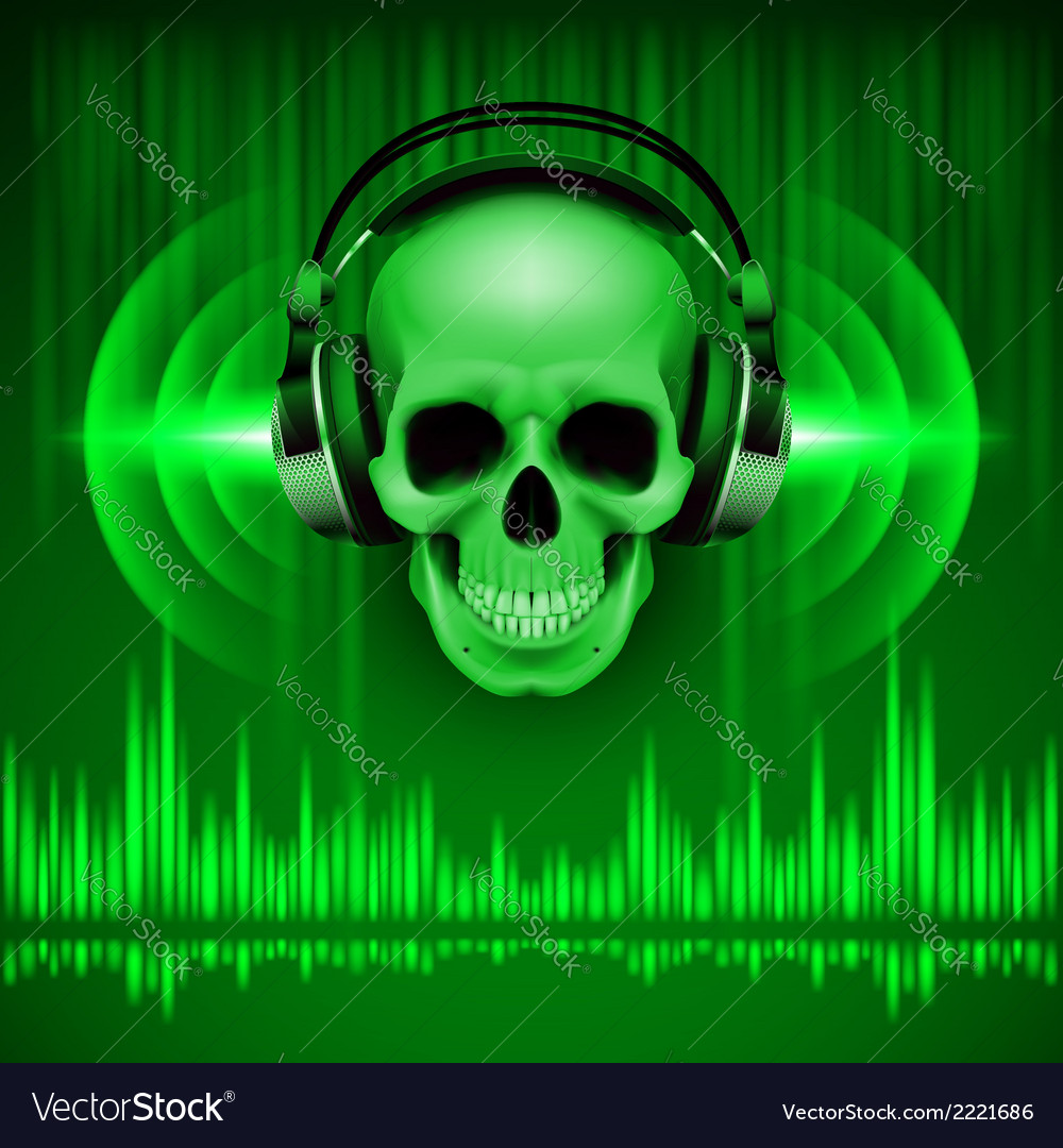 Skull in headphones disco background vector | Price: 1 Credit (USD $1)