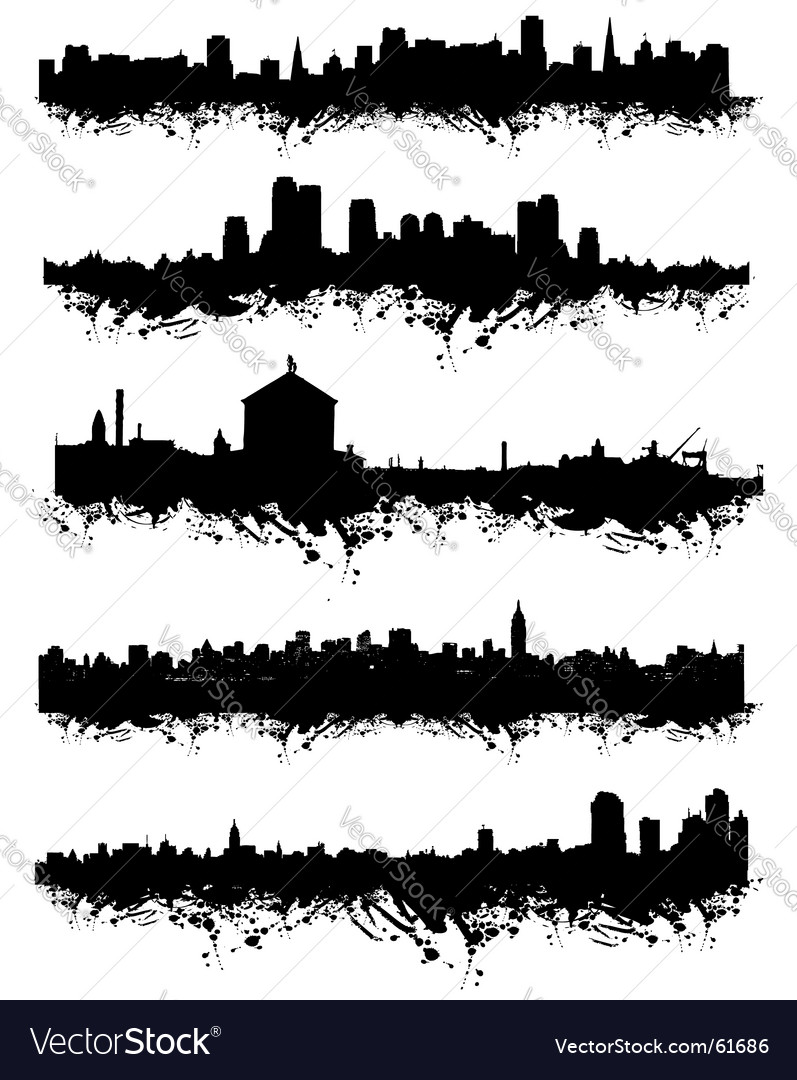 Urban silhouette vector | Price: 1 Credit (USD $1)