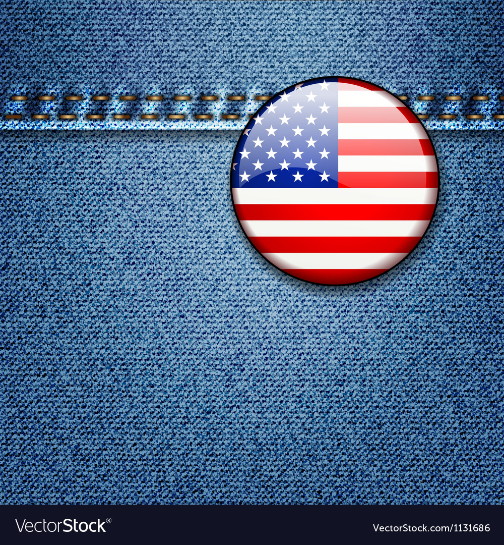 Usa flag badge on denim jeans fabric texture vector | Price: 1 Credit (USD $1)