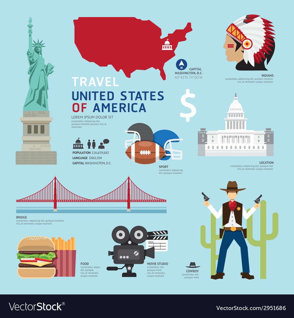 Usa flat icons design travel concept vector | Price: 1 Credit (USD $1)