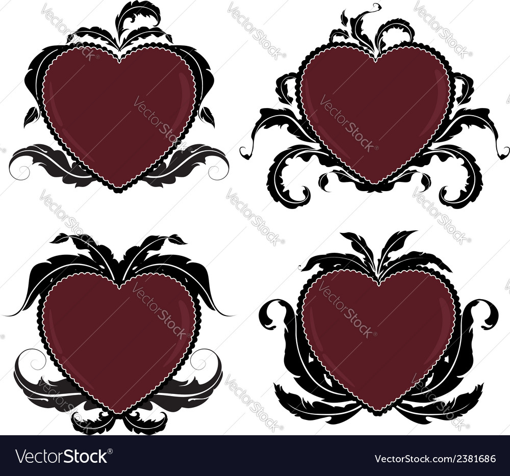 Vintage valentine hearts vector | Price: 1 Credit (USD $1)
