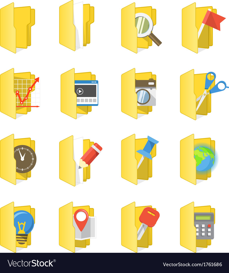 Yellow folders collection with different content vector | Price: 1 Credit (USD $1)
