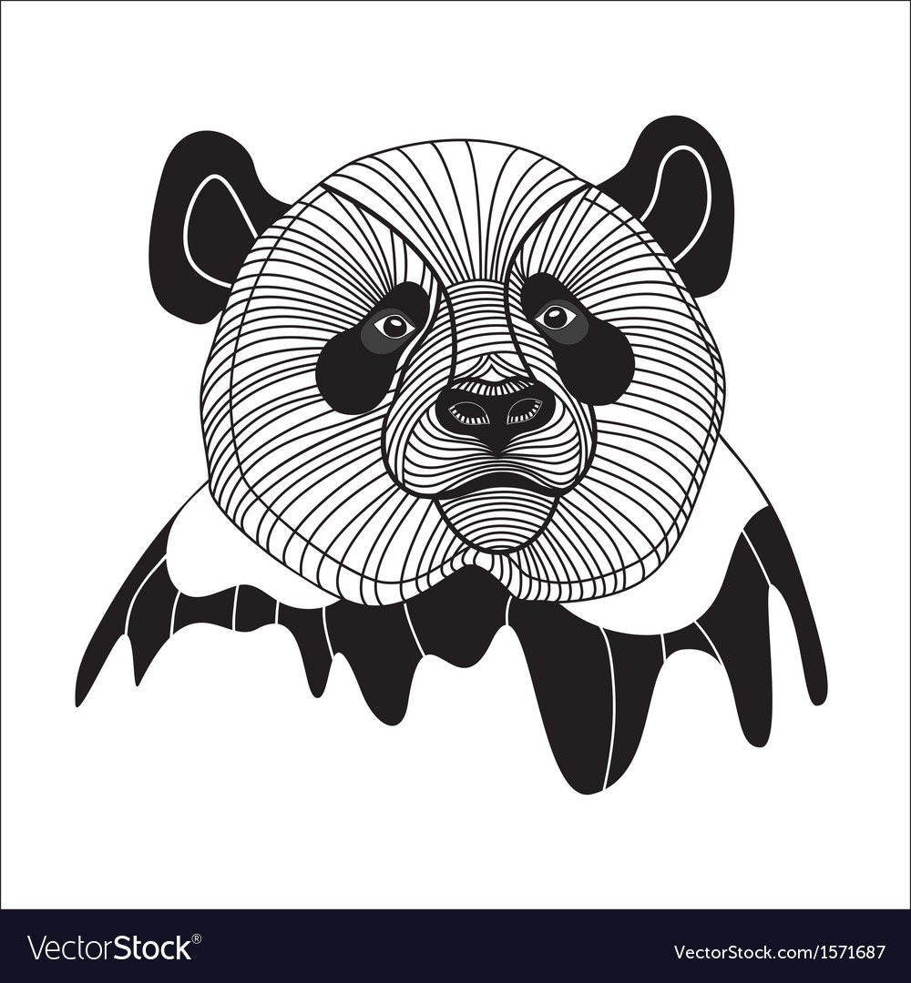 Bear panda head animal line symbol for mascot embl vector | Price: 1 Credit (USD $1)