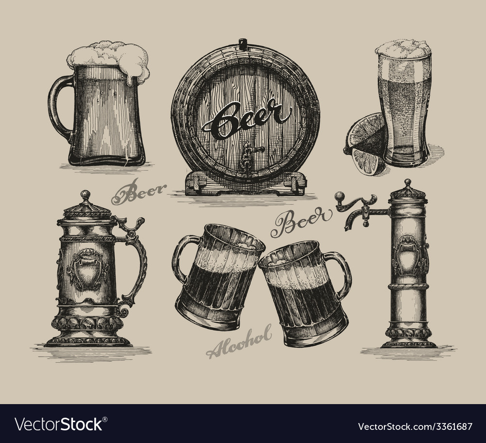 Beer set sketch elements for oktoberfest festival vector | Price: 3 Credit (USD $3)