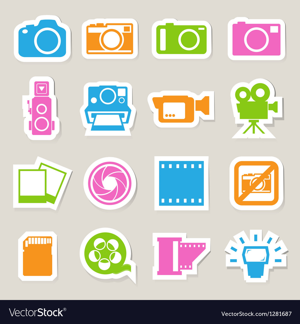 Camera and video sticker icons set vector | Price: 1 Credit (USD $1)