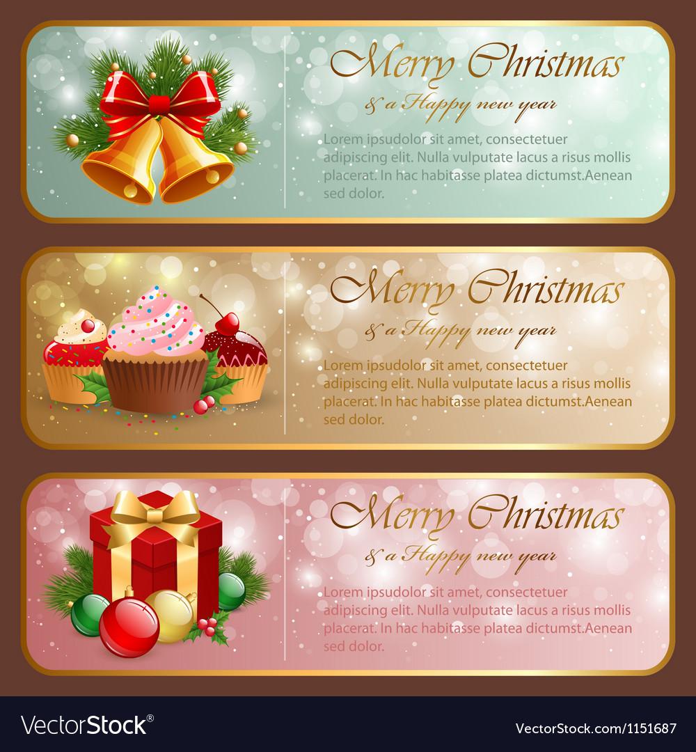 Christmas vintage horizontal banner vector | Price: 1 Credit (USD $1)