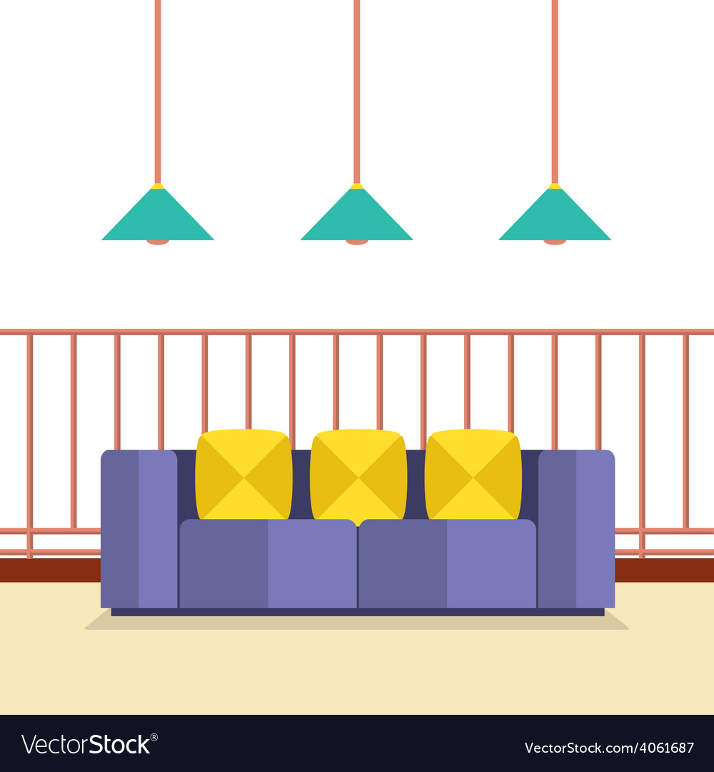Colorful sofa on balcony with ceiling lamps vector | Price: 1 Credit (USD $1)