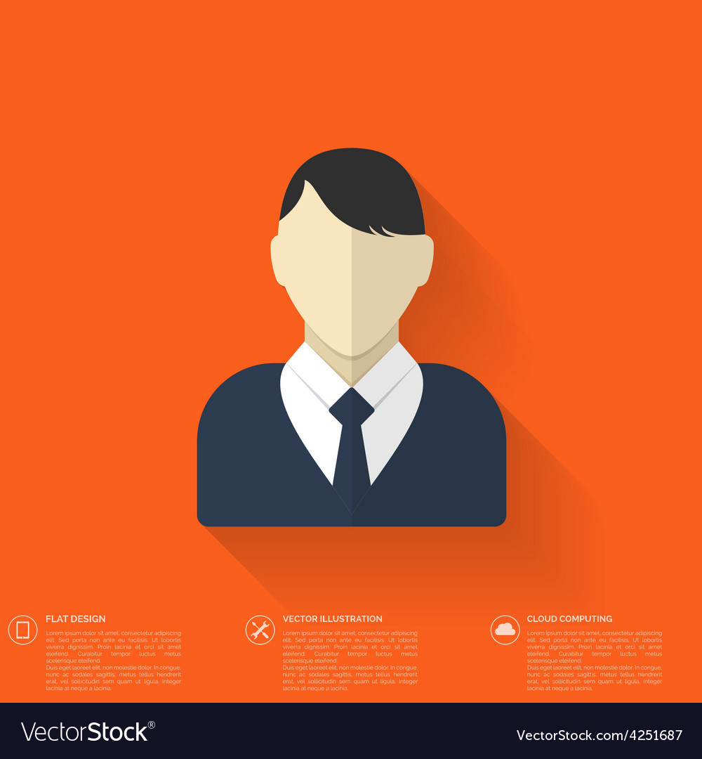 Flat male avatar user profile icon business vector | Price: 1 Credit (USD $1)