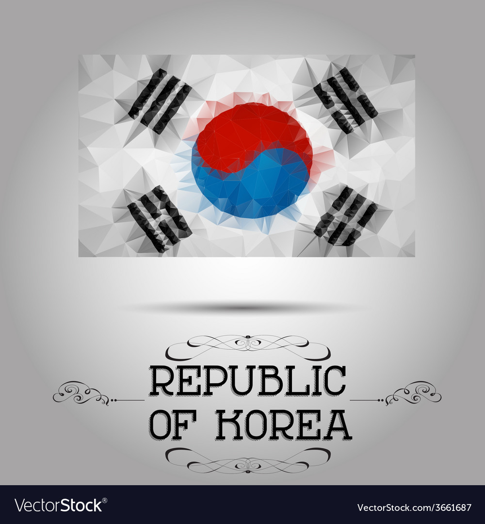 Geometric polygonal republic of korea flag vector | Price: 1 Credit (USD $1)