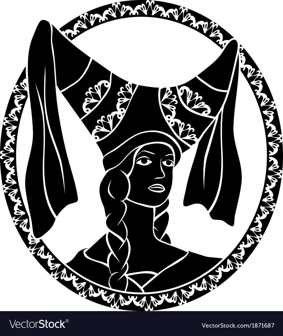 Girl portrait in medieval style stencil vector | Price: 1 Credit (USD $1)