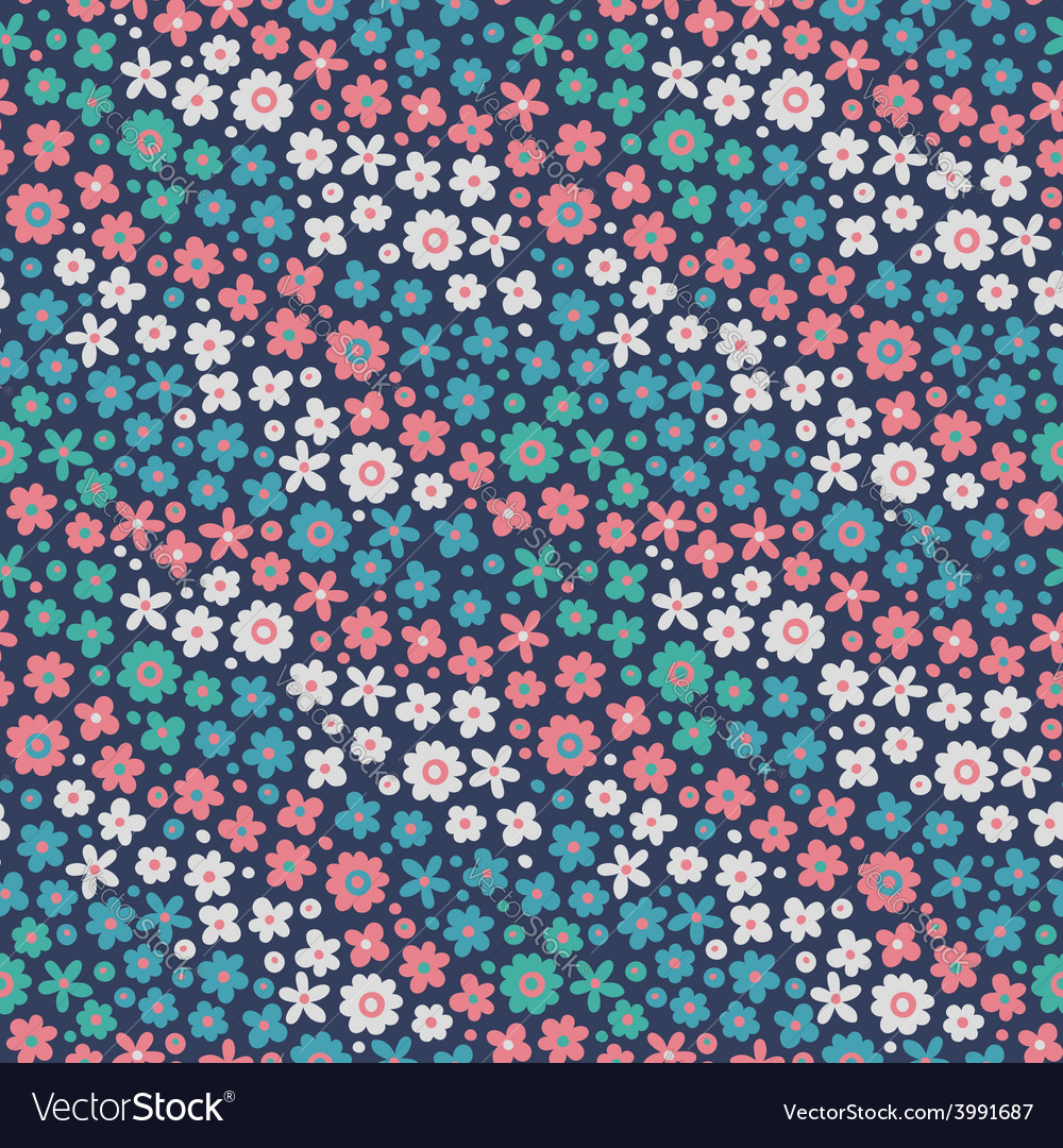Seamless pattern with cute flowers vector | Price: 1 Credit (USD $1)