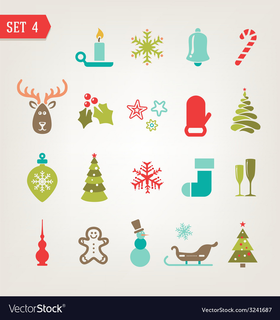 Vintage christmas icons vector | Price: 1 Credit (USD $1)