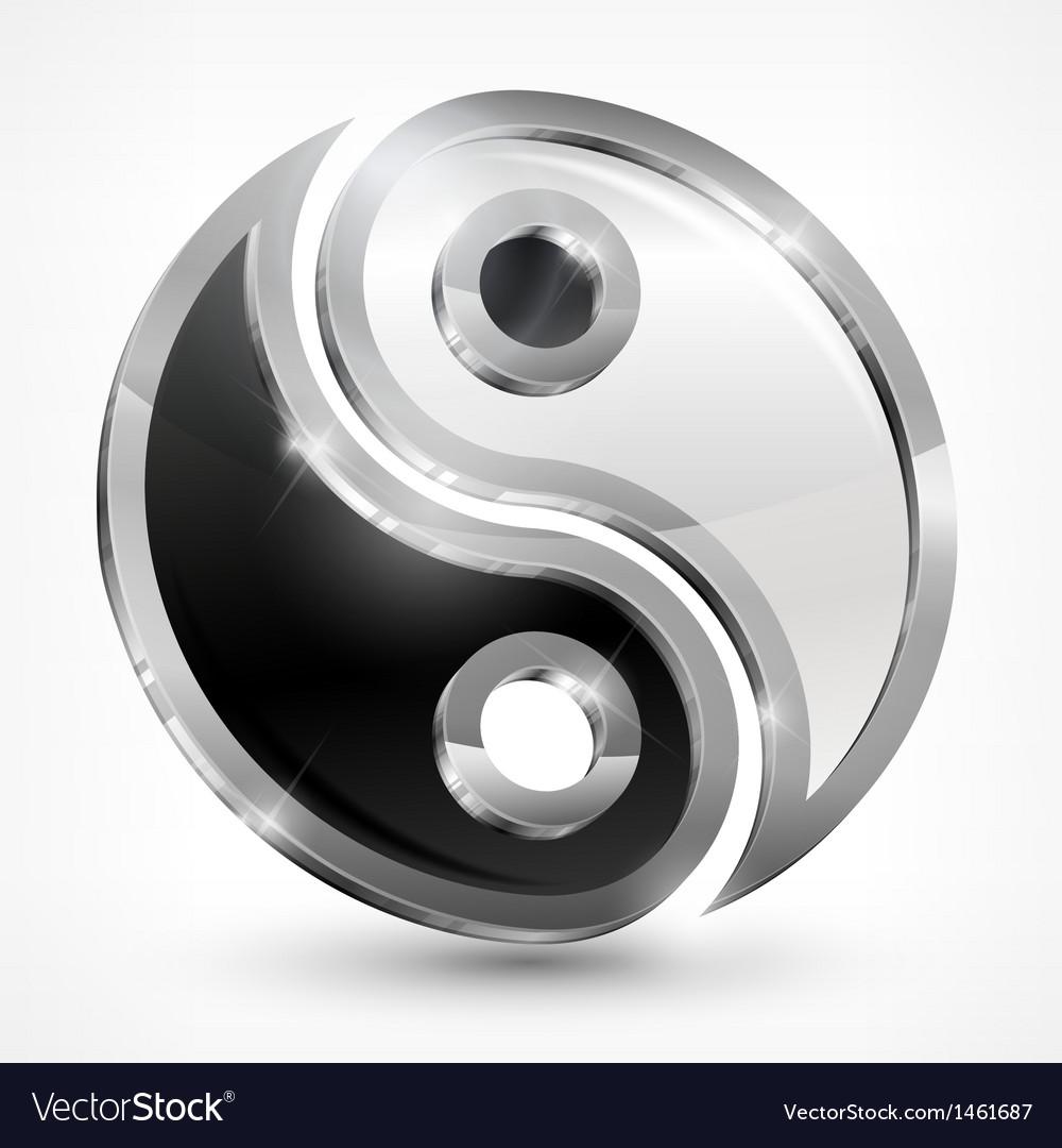 Yin yang metallic symbol vector | Price: 1 Credit (USD $1)