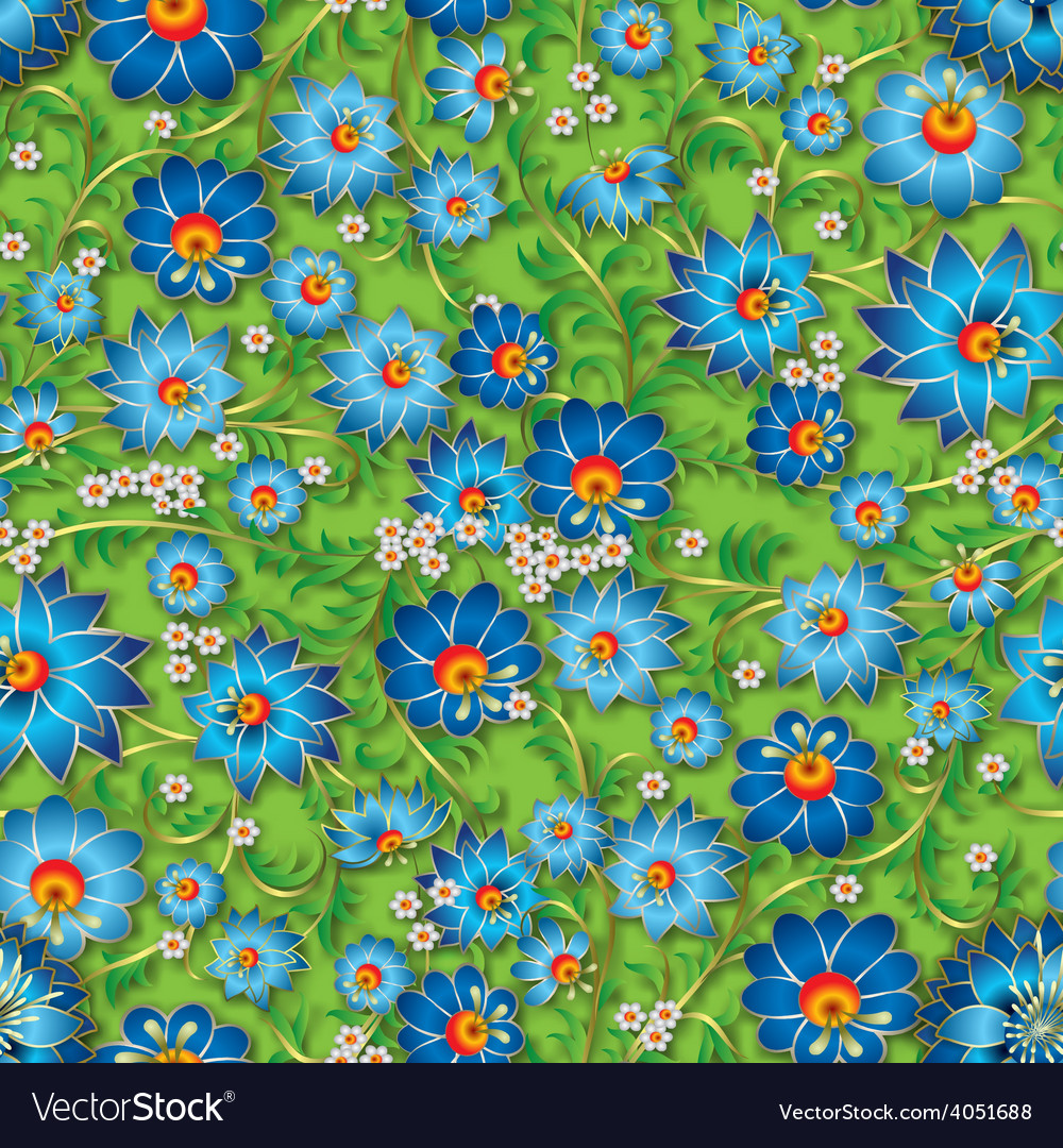 Abstract blue spring seamless floral ornament and vector   Price: 1 Credit (USD $1)