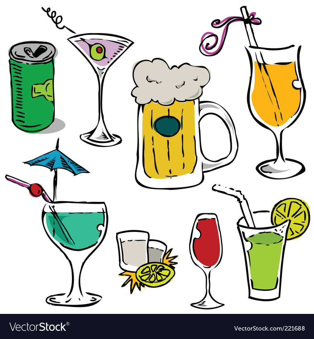 Alcohol glass set vector | Price: 1 Credit (USD $1)