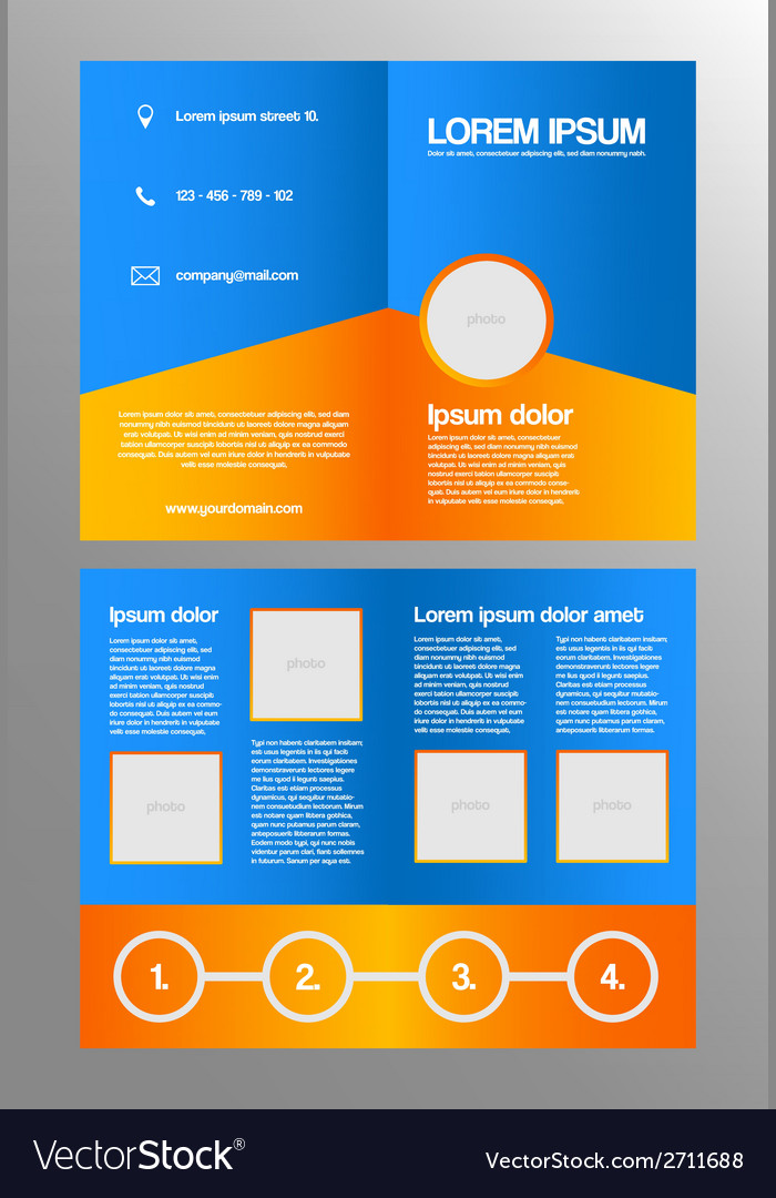 Bifold business brochure template vector | Price: 1 Credit (USD $1)