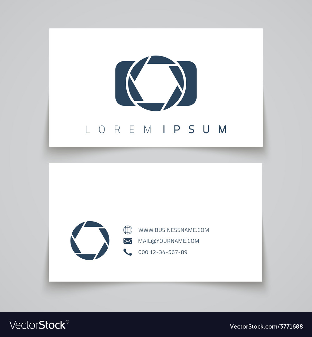 Business card template camera conceptl logo vector | Price: 1 Credit (USD $1)