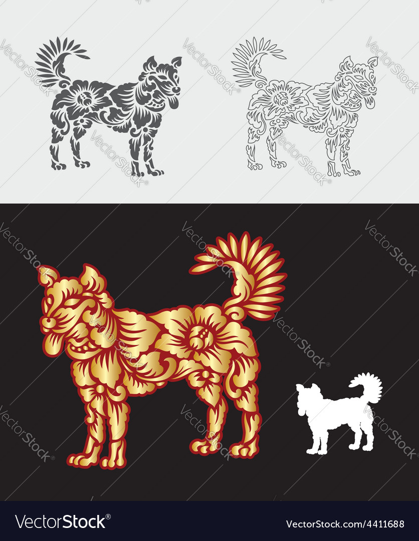 Dog gold floral ornament decoration vector | Price: 1 Credit (USD $1)