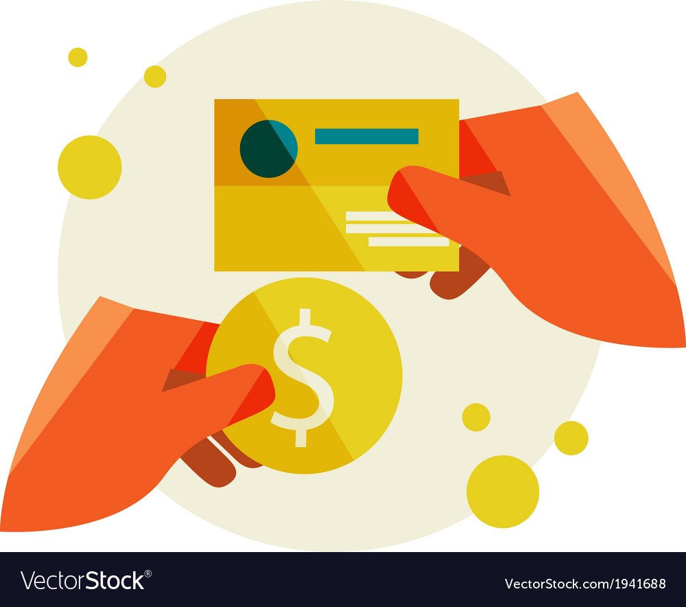 Hand holding a business card and a coin vector | Price: 1 Credit (USD $1)