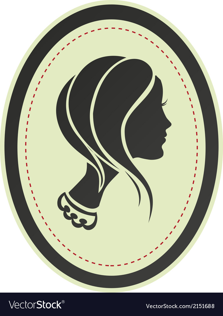 Lady cameo profile vector | Price: 1 Credit (USD $1)