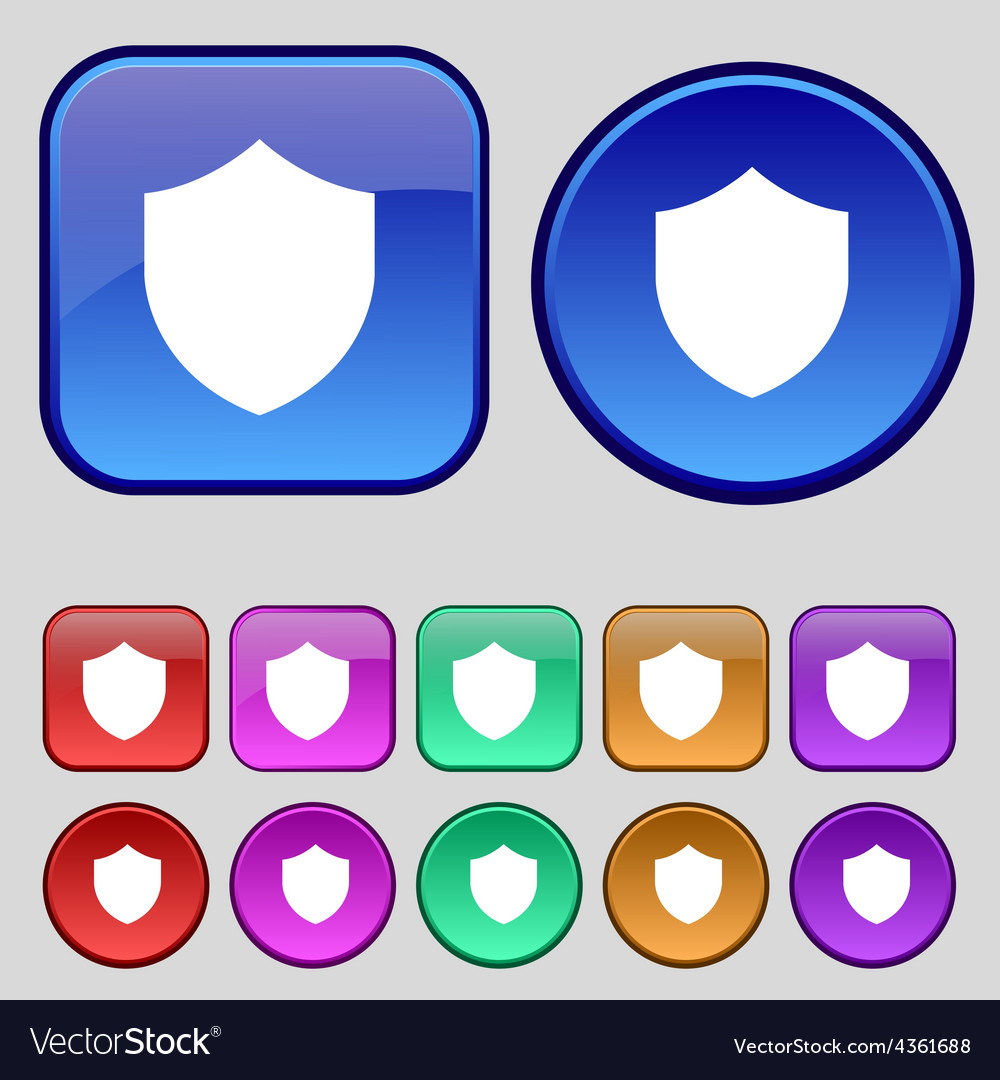 Shield protection icon sign a set of twelve vector | Price: 1 Credit (USD $1)