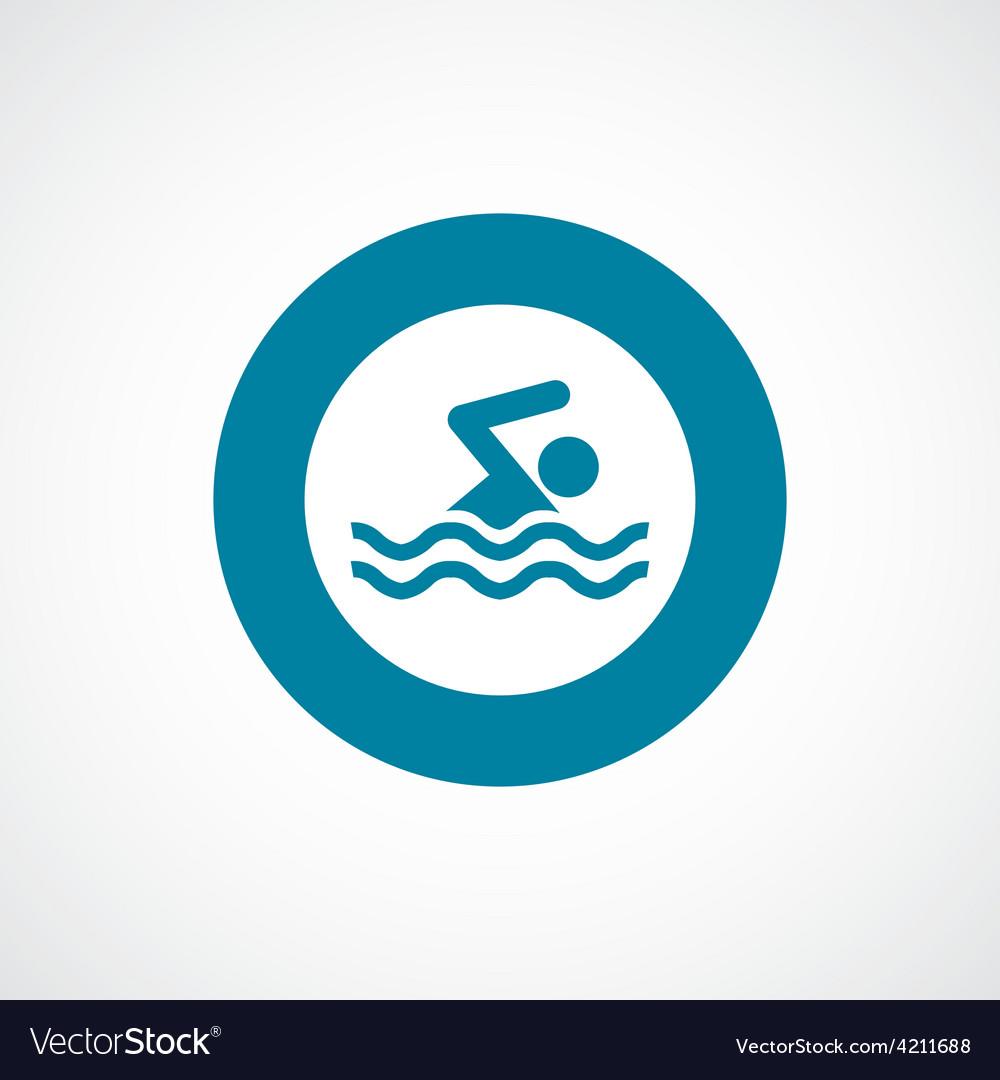 Swim icon bold blue circle border vector | Price: 1 Credit (USD $1)