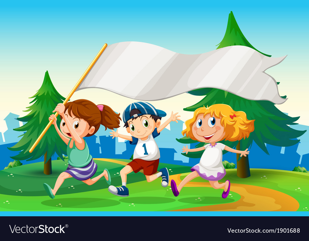 Three kids running with an empty flag banner vector | Price: 3 Credit (USD $3)
