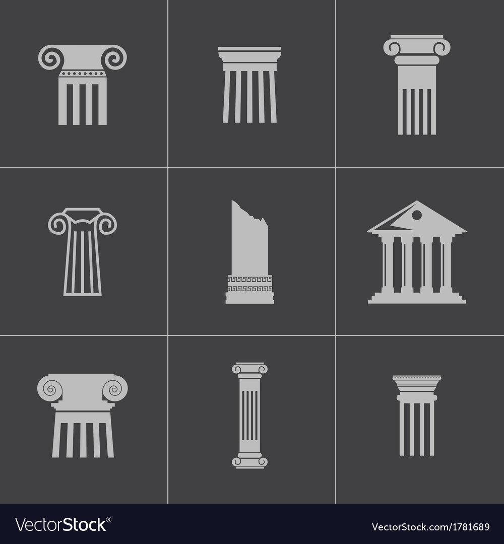 Black column icons set vector | Price: 1 Credit (USD $1)
