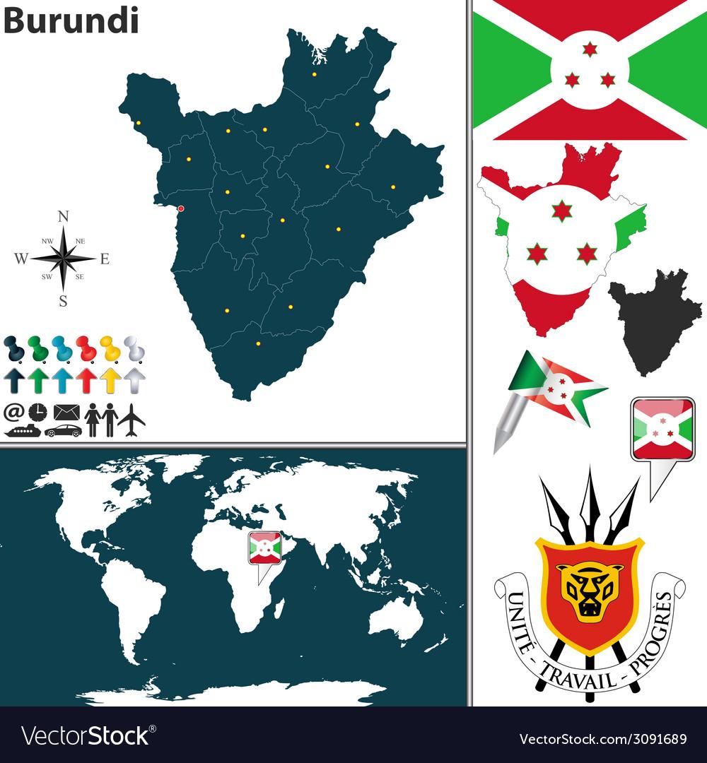Burundi map world vector   Price: 1 Credit (USD $1)