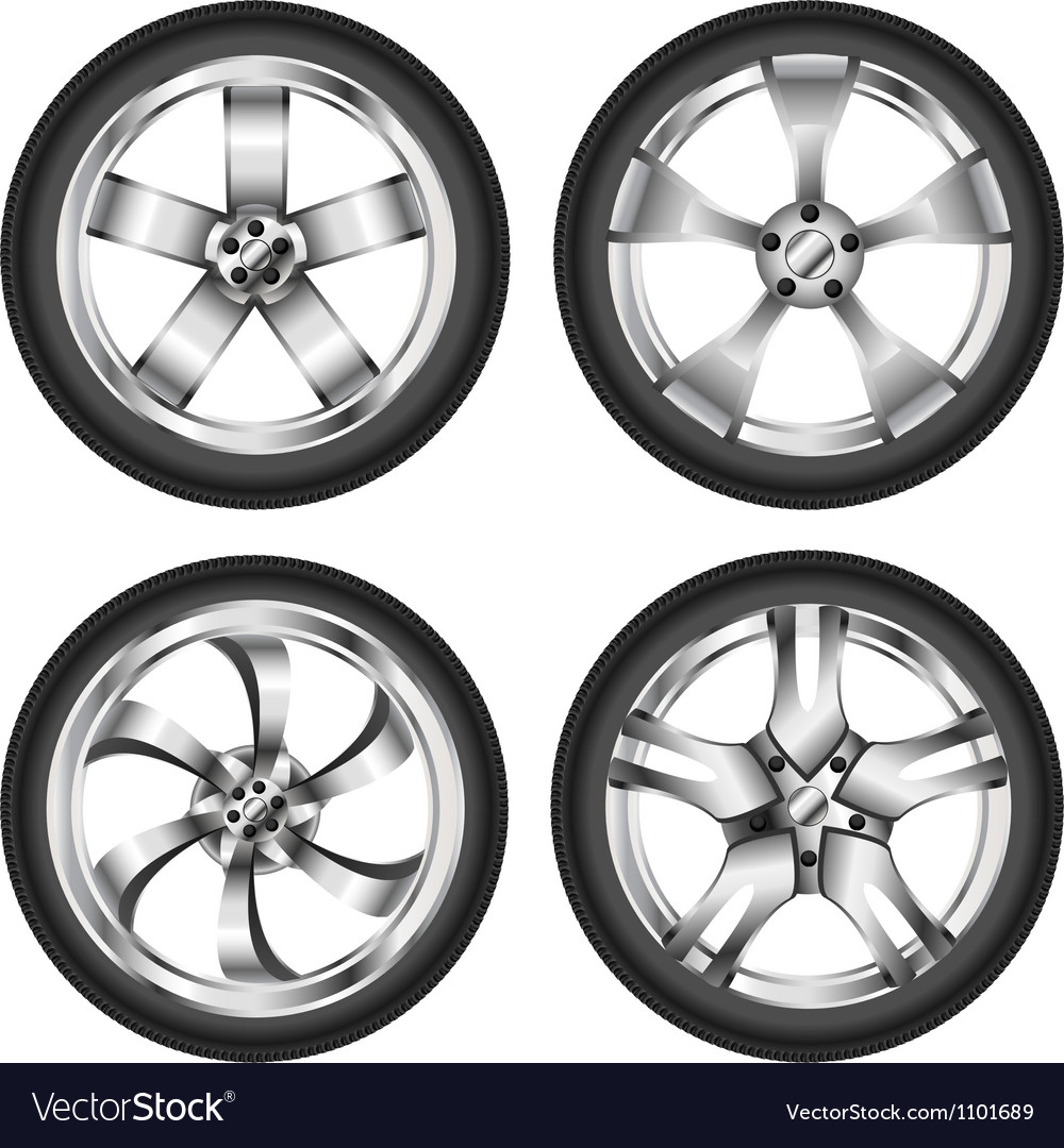 Car wheel set vector | Price: 1 Credit (USD $1)