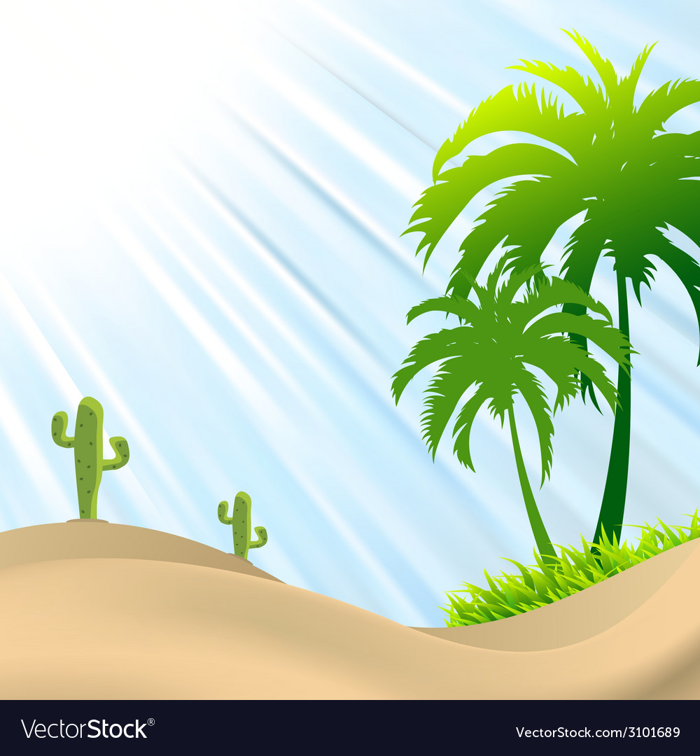 Desert scene with palm treecactus sand dunes vector | Price: 1 Credit (USD $1)