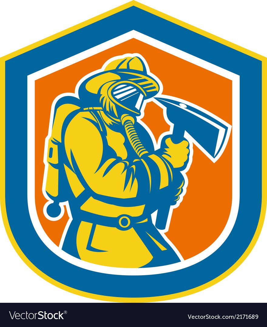 Fireman firefighter holding fire axe shield vector | Price: 1 Credit (USD $1)