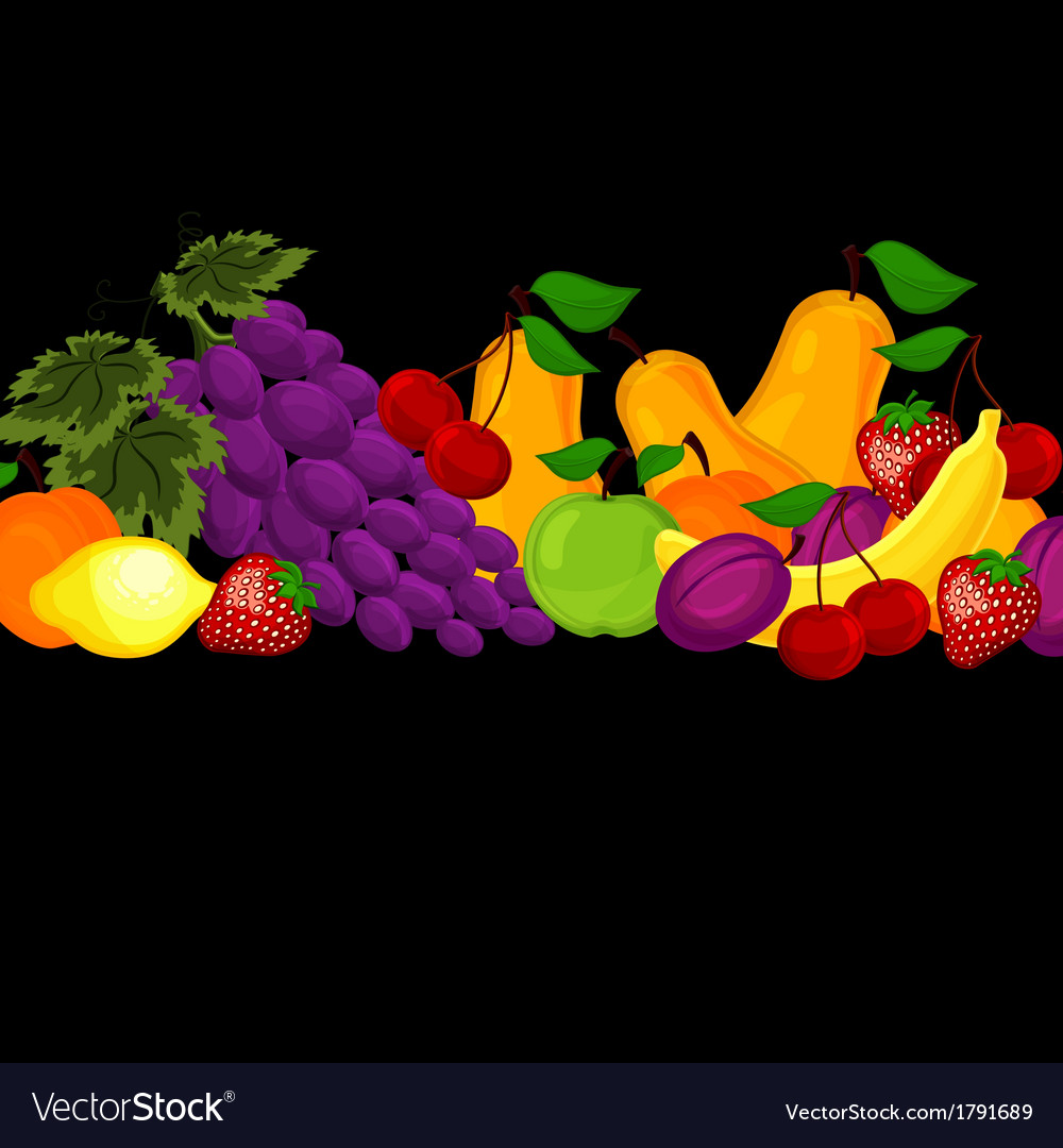 Fruit design borders isolated on white vector   Price: 1 Credit (USD $1)
