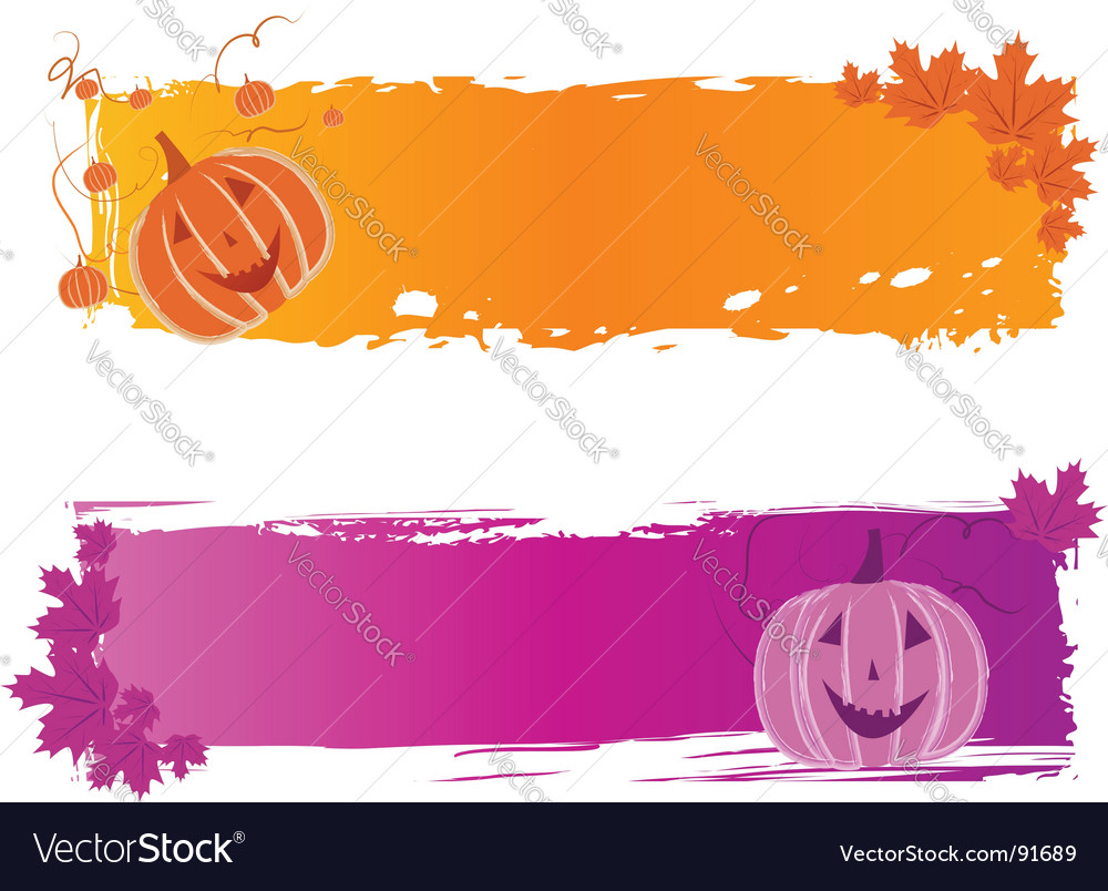 Halloween banners with pumpkin vector | Price: 1 Credit (USD $1)