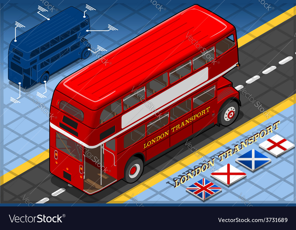 Isometric double decker bus in rear view vector | Price: 3 Credit (USD $3)