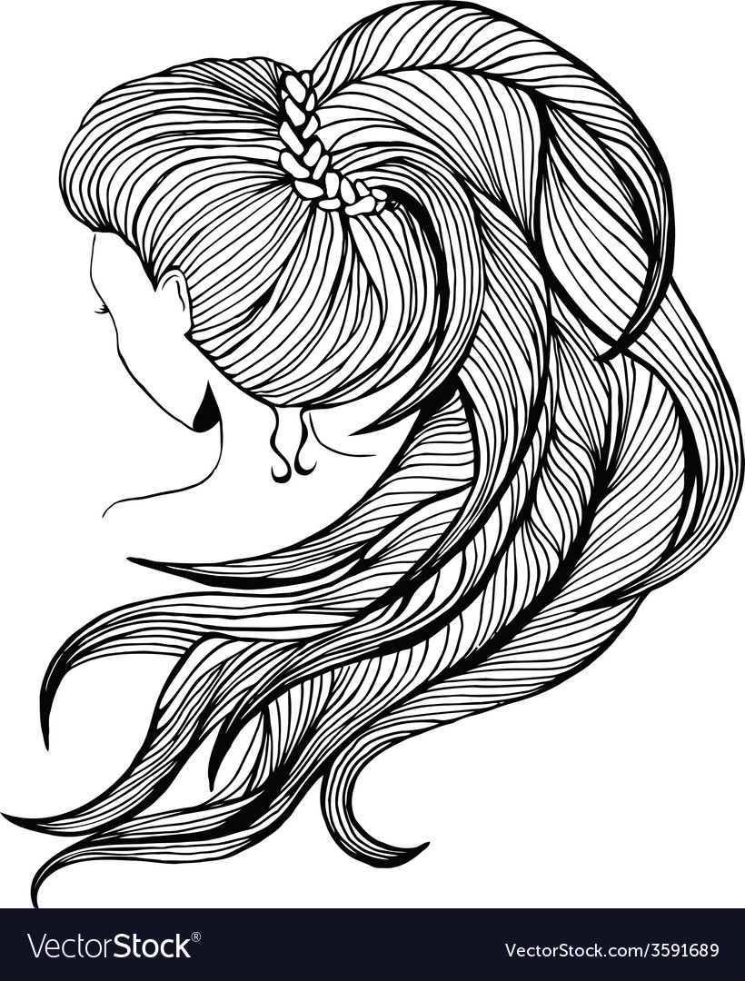 Long ponytail - line art vector | Price: 1 Credit (USD $1)