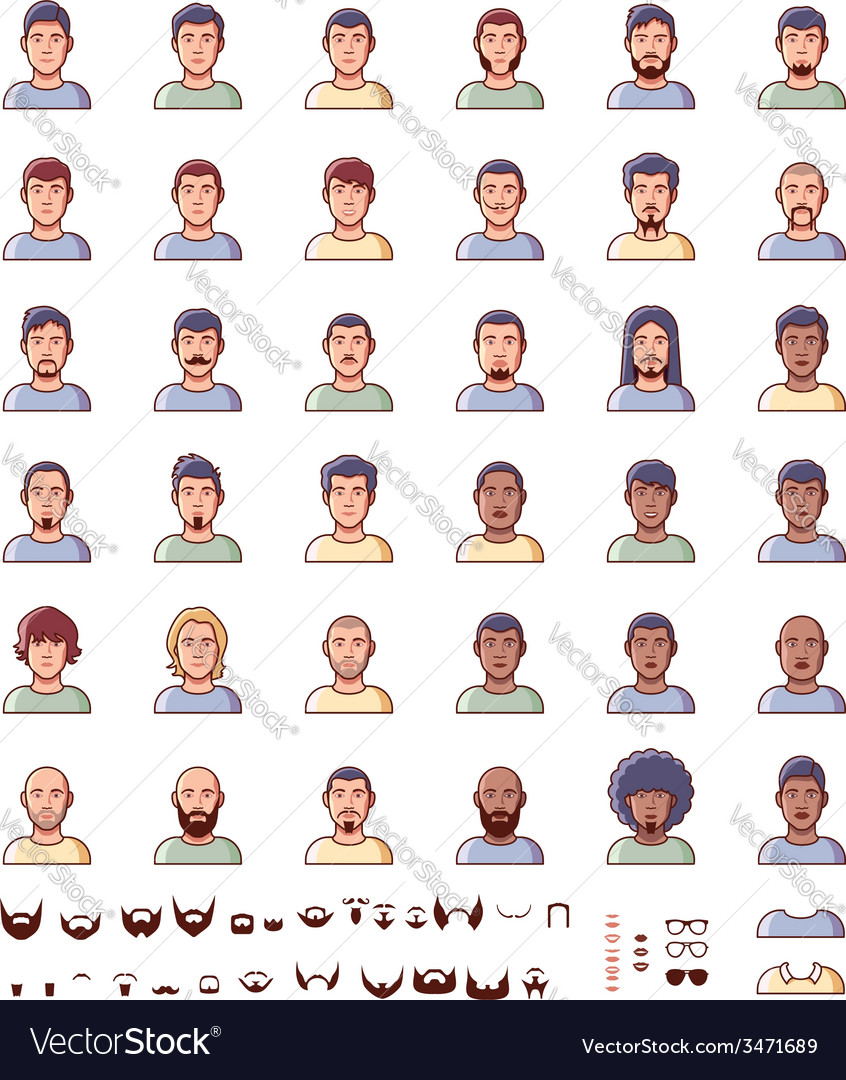 Men faces icon set vector | Price: 1 Credit (USD $1)